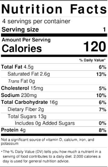 Watermelon Salad Nutrition Facts label