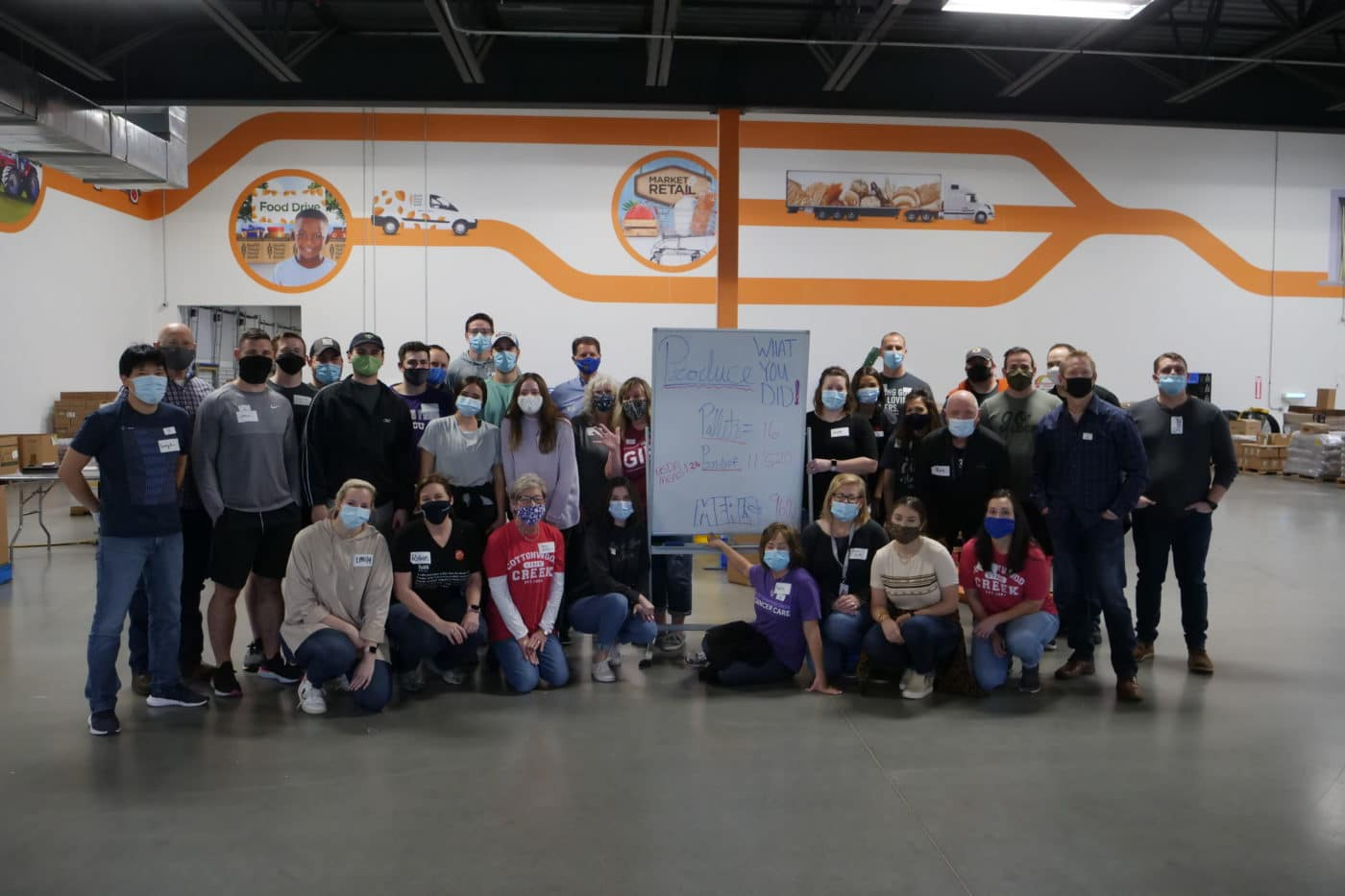 Cottonwood Creek Church volunteers  on the production floor at the NTFB's Perot Family Campus.