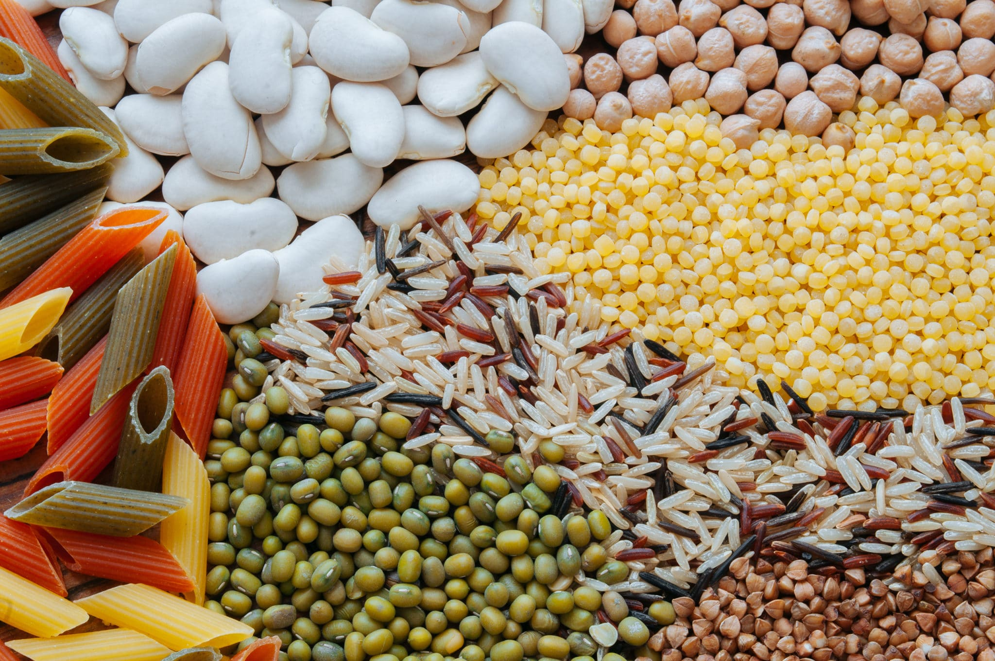 Beans, pasta, and whole grains