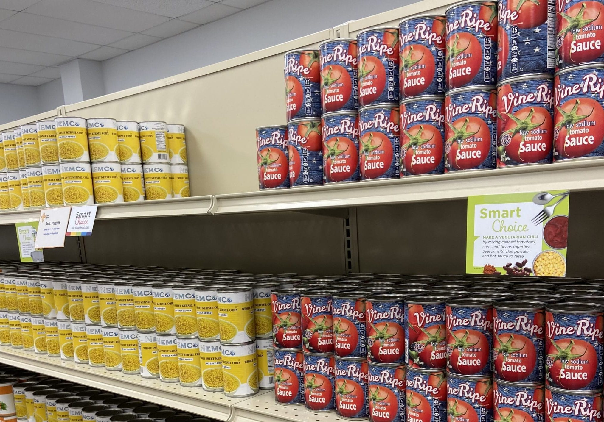 Cans on a shelf at a food pantry